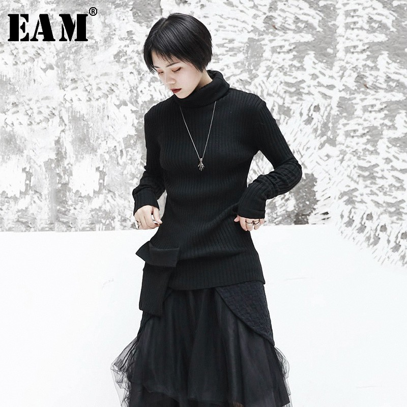 [EAM] 2019 New Spring Black Patchwork Loose Full Sleeve O Collar Pullover Women Fashion Tide Beading Sweater OA872
