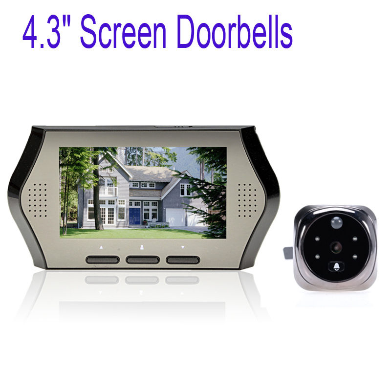 "4.3"" Screen Wide Lens Peephole Viewer Camera DVR IR Motion Detection Doorbells Digital Door Viewer Silver"