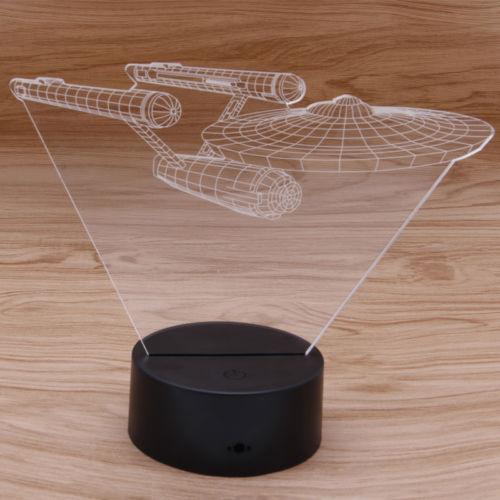 For Star Trek USS Enterprise 3D LED Night Light 7 Color Touch Switch Desk Lamp