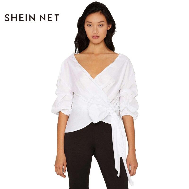 Sheinnet Blanco Mujeres Blusa camisa Con Cuello En V Cross Frente Tie Cintura Ab