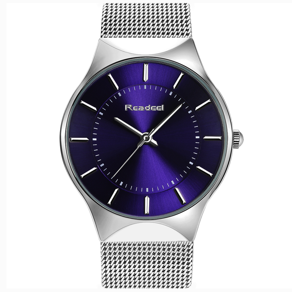 Readeel Fashion Mens Watches Top Brand Luxury Quartz Watch Men Casual Slim Mesh Steel Ultra Thin Sport Watch Relogio Masculino