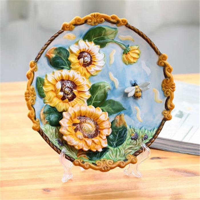creative handmade painted emboss sunflower decorative hanging plate ceramic wall plate modern home decoration ornaments - Decorative Wall Plates