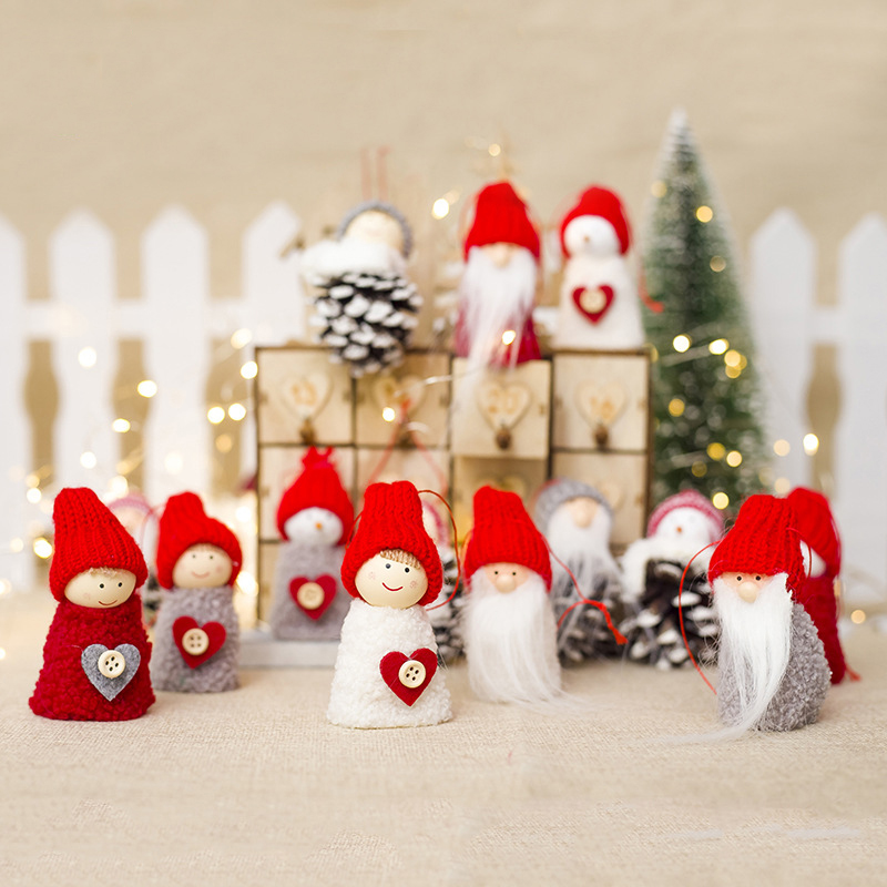 Reliable 2019 Christmas Decoration Pendant Santa Claus Doll Toys Wooden+woolen Santa Claus Dolls Pendant Christmas Decorations For Home Crease-Resistance Welding Equipment