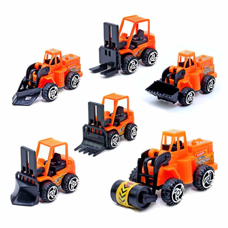 6 Pcs Kendaraan Konstruksi Miniatur Teknik Truk Forklift Excavator Loader Patung-patung Mainan Mini Hadiah untuk Anak Anak