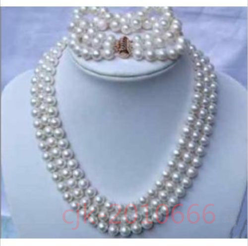 2017 spring 3 row strands AAA+ 9-10mm white pearl necklace / bracelet 925silver2017 spring 3 row strands AAA+ 9-10mm white pearl necklace / bracelet 925silver