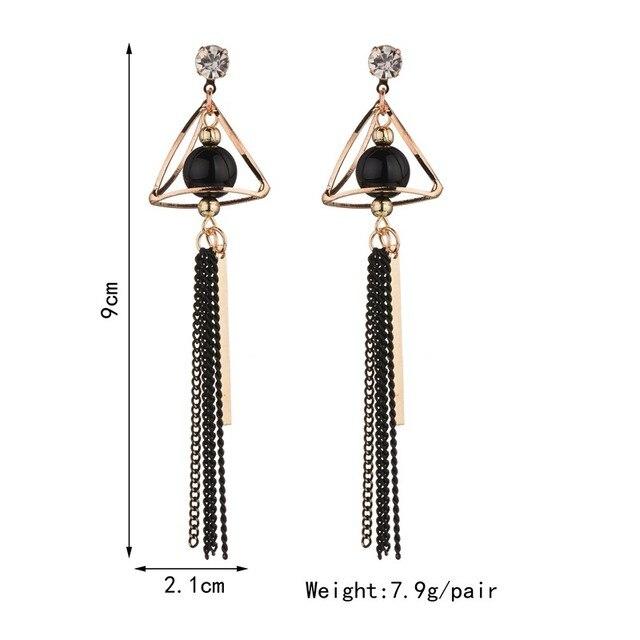 43d5cbc36a8e93 MissCyCy Trendy Long Tassel Earrings For Women Rhinestone Hollow Triangle Hanging  Earrings Fashion Jewlry 2017 New Arrival