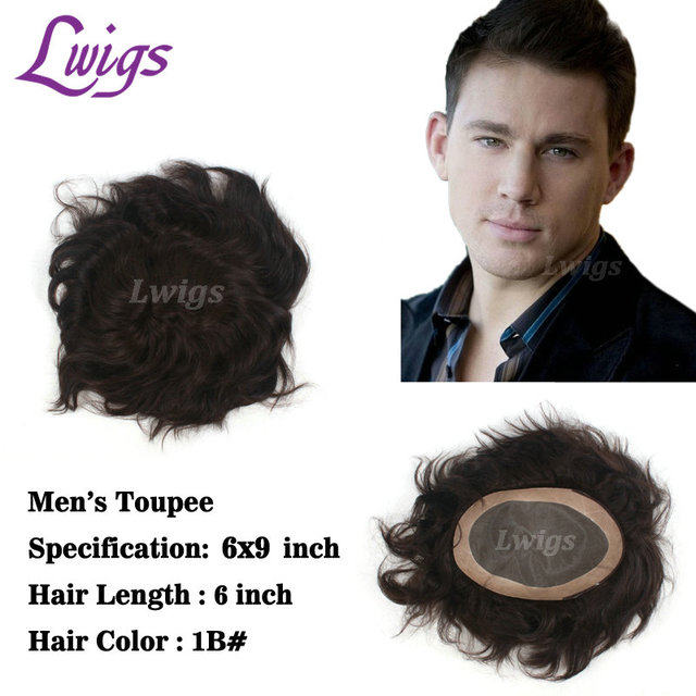 Lwigs men s hair replacement 6 x 9 inch toupee for men remy human hair lace  wigs mens PU thin skin black hair wigs free shipping 759769b944ef
