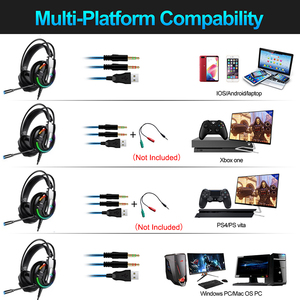 Image 4 - Gaming Headphones Headset Deep Bass Stereo wired gamer Earphone Microphone with backlit for Xbox one PS4 Mobile phone PC Laptop
