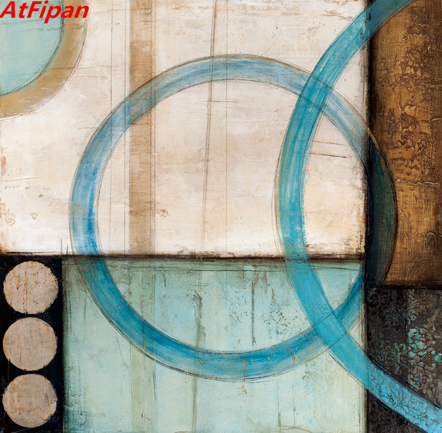 AtFipan Blue And Brown Circles Modern Abstract Oil Painting Canvas ...