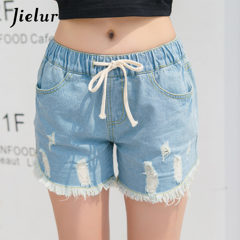 Jielur Shorts Women Tassel-Pockets Lace-Up Denim-Holes High-Waist Ladies New Solid S-4XL