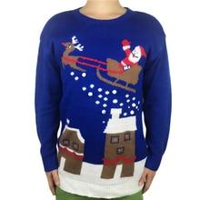 ตลกถักLight Upน่าเกลียดคริสต์มาสเสื้อกันหนาวสำหรับผู้ชายและผู้หญิงKawaiiผู้หญิงถักPom Pom Santa Xmas Pulloverจัมเปอร์plusขนาด