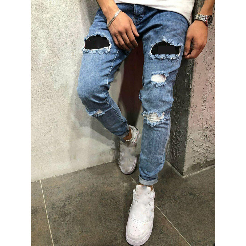 Men's Stylish Jeans Denim Pants Skinny Biker Destroyed Ripped Stylish Casual Slim Fit Jeans Bottom Frayed Trousers