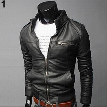 Men Winter Fashion Cool Zipper Pocket Faux Leather Bomber Jacket Coat Outerwear Solid Stand Collar Slim Jacket
