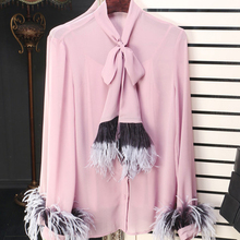 Solid Fashion Blouse 2017 Early Spring High Quality Bow Noble Long Sleeve Pink Gray Black Beautiful Women Tassel Blouse