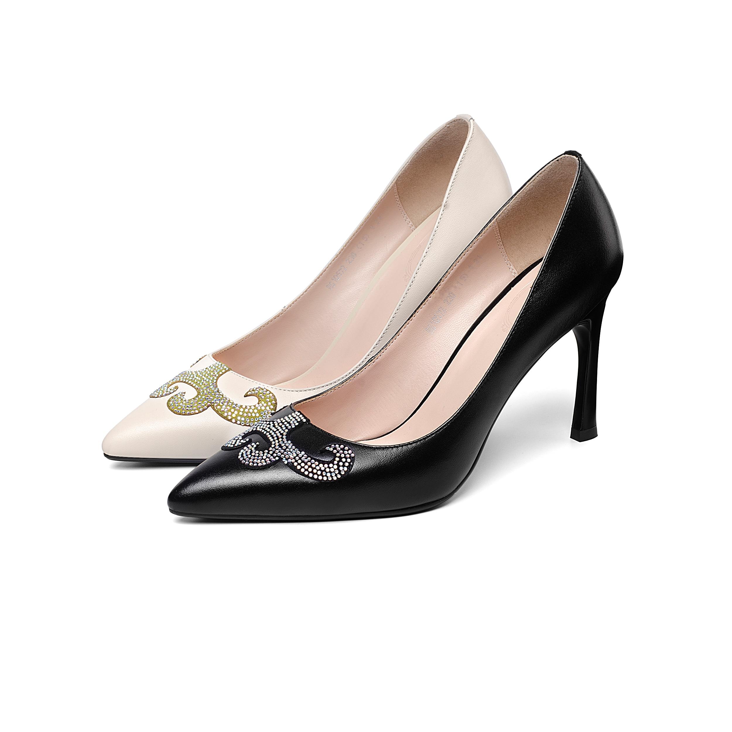 Bombas Genuino Cuero Beige 2019 Señaló Cuadrado Mujer De negro Talones Sales Moda Oficina Zapatos Punta Patchwork Mujeres Alta IFExaq8
