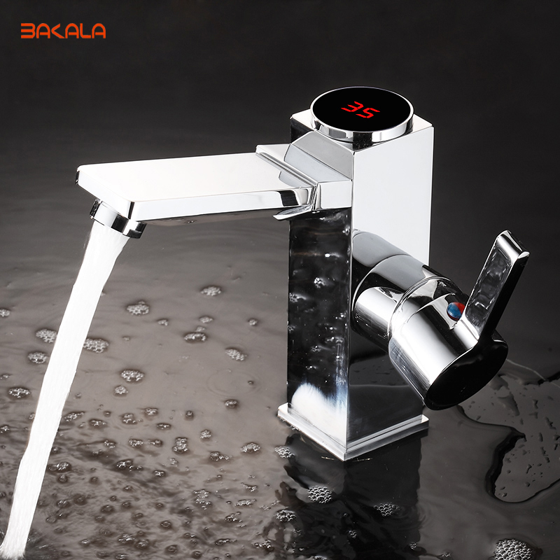 BAKALA Put Out LED Digital basin Faucet Water Power Basin Mixer. Solid Brass Chrome plated temperate display Faucet Smart Tap диски helo he844 chrome plated r20