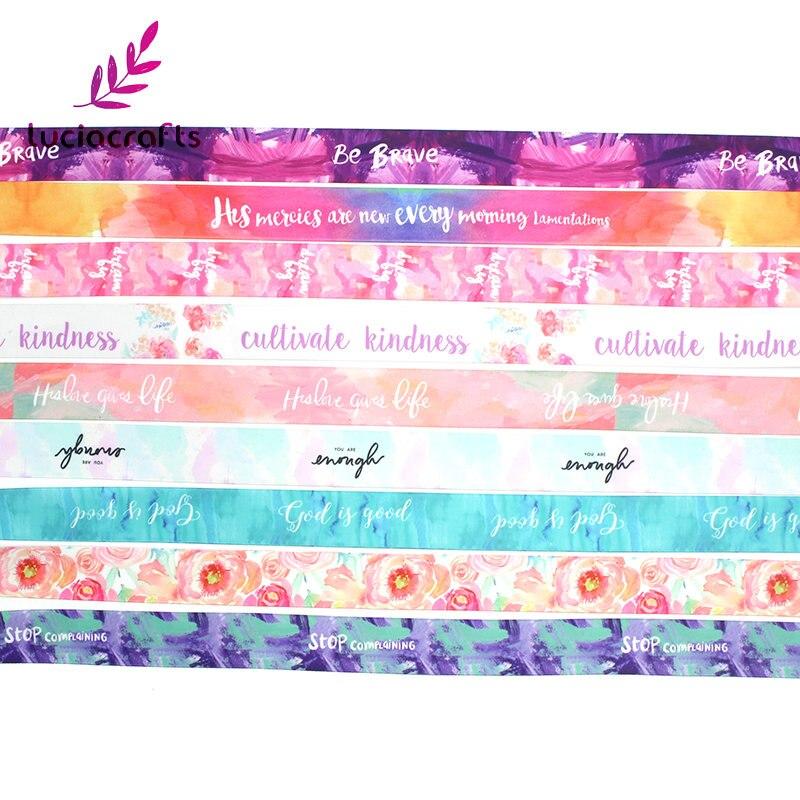 5y 25 мм Multi цвет печатных атласная лента для ручной работы лук Ремесло Рождество Декор вечерние партии подарок упаковка материалы для скрапбукинга 040007127