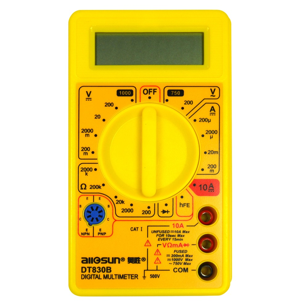 all-sun DT830B Portable multi meter AC/DC Ammeter Voltmeter Ohmmeter Electrical Tester Digital Multimeter newacalox electrical instrument lcd digital multimeter ac dc ammeter voltmeter ohm portable clamp meter tester tool