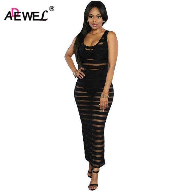 db219684c74 ADEWEL Wet Look See Thourgh Striped Black Dresses Beach Casual Sexy Mesh  Dress Club Wear Night Dress Cheap Maxi Dress