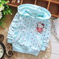 2016 spring models girls cotton hooded sweatshirts jacket children candy-colored dots cartoon cardigan coat