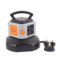 Smart Electrical Plugs Power Socket Plug 4 Outlet 2 USB Ports 1 Layer Socket Surge Protector Power Board 2500W UK Plug