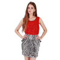 Top Quality Sexy Red Sleeveless Lace Embroidery Mini Dress Silver Sequins Backless Vestido De Festa Plus