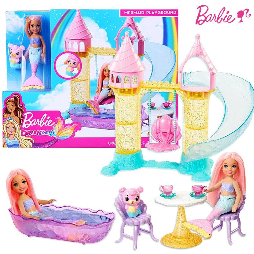 Original Barbie Chelsea Mermaid Playground Doll Toy Set Barbie Girl Princess Dream Topia Castle Slide Scenes Toy Gift FXT20(China)