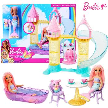 Oryginalny Barbie Chelsea syrenka plac zabaw dla lalek zestaw zabawek Barbie dziewczyna księżniczka sen Topia zamek slajdów sceny zabawki prezent FXT20 tanie i dobre opinie CN (pochodzenie) cartoon Mini SOFT Film i telewizja FASHION DOLL NONE Lalki 34*7*27cm Fantasy 1 12 3 lat Z tworzywa sztucznego