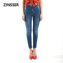Outono inverno lazer minimalista mulheres denim calças magros estiramento cintura alta lavado azul cinza preto magro elástico senhora jeans