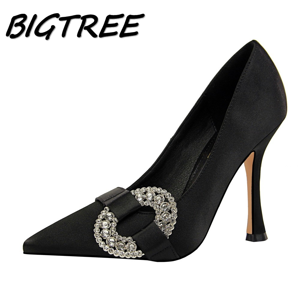BIGTREE Summer Women Pointed Toe High heels Shoes Woman Pumps Ladies Fashion Party Sexy Buckle Strap Crystal Female Single Shoes hot 2016 new fashion t strap buckle pumps women high heels ladies sexy pointed toe summer party wedding patchwork shoes sandals