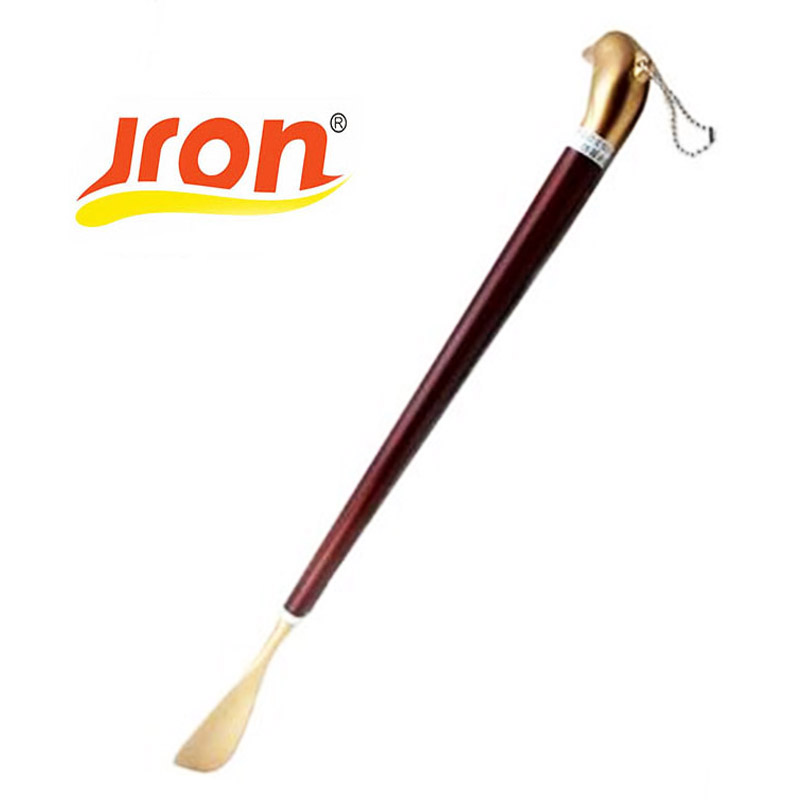 1 stykke rustfrit stål sko horn legering skoske lang træ håndtag - Sko tilbehør