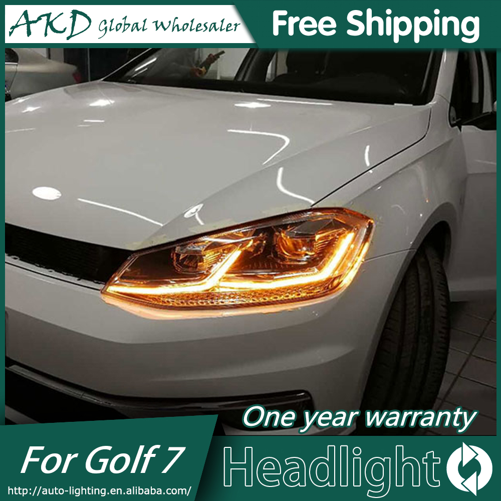 AKD Car Styling Head Lamp case for VW Golf7 Headlights Golf 7 MK7 2014 2015 LED Headlight DRL Lens Double Beam Bi-Xenon HID akd car styling for nissan teana led headlights 2008 2012 altima led headlight led drl bi xenon lens high low beam parking