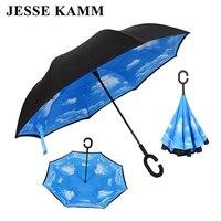 JESSEKAMM Drop Shipping Rüzgar Geçirmez Katlanır Çift Katmanlı Ters Ters Şemsiyeler Kendini Standı Yağmur Güneş Koruma Araba Için C-Kanca