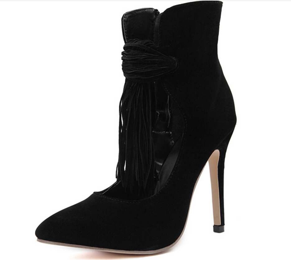 2018 spring and summer new European and American zipper tassel high heels women's suede bare shoes