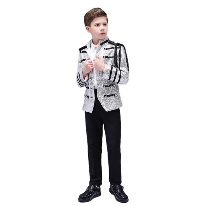 Europe Style Palace Boy Sets Military Suits Prince Stage Performance Jacket Pants Shirt