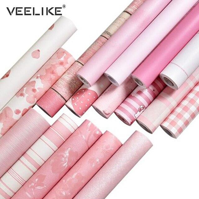 S Pink Waterproof Vinyl Contact Paper Shelf Liner Kitchen Self Adhesive Wallpaper For Bedroom Living Room Decor Wall Sticker