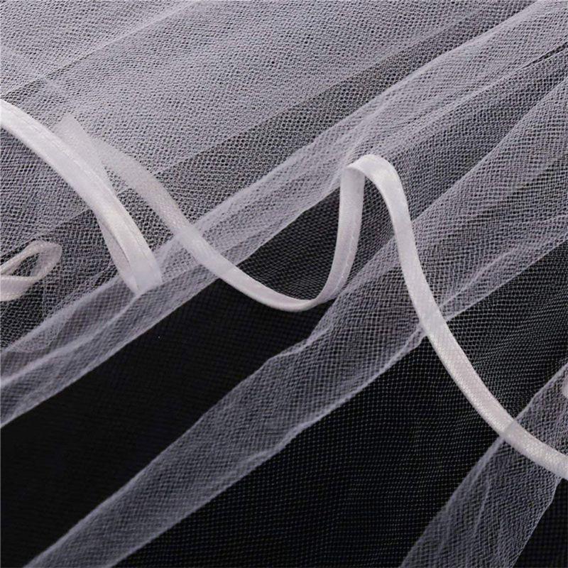 Women Bridal Veil White Flower Hair Wreath Garland Wedding Headband Crown Adjustable Lace Up Ribbon Bachelorette Party Accessory