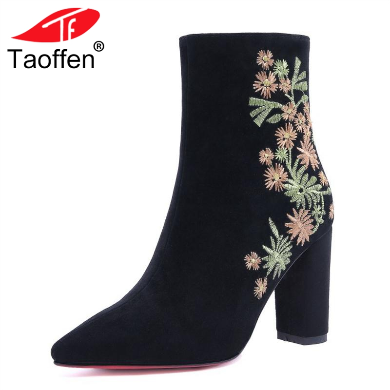 TAOFFEN Women High Heel Boots Winter Ankle Pointed Toe Sexy Ladies Shoes Woman Embroidery Flower Half Short Boots Size 32-41 ремнабор для ткани палаток msr msr tent fabric repair kit