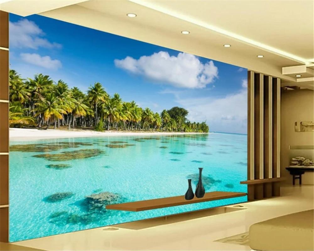 beibehang fresco HD seaside coconut beach TV wall background wallpaper picture papel de parede wallpaper for walls 3 d behang in Wallpapers from Home Improvement
