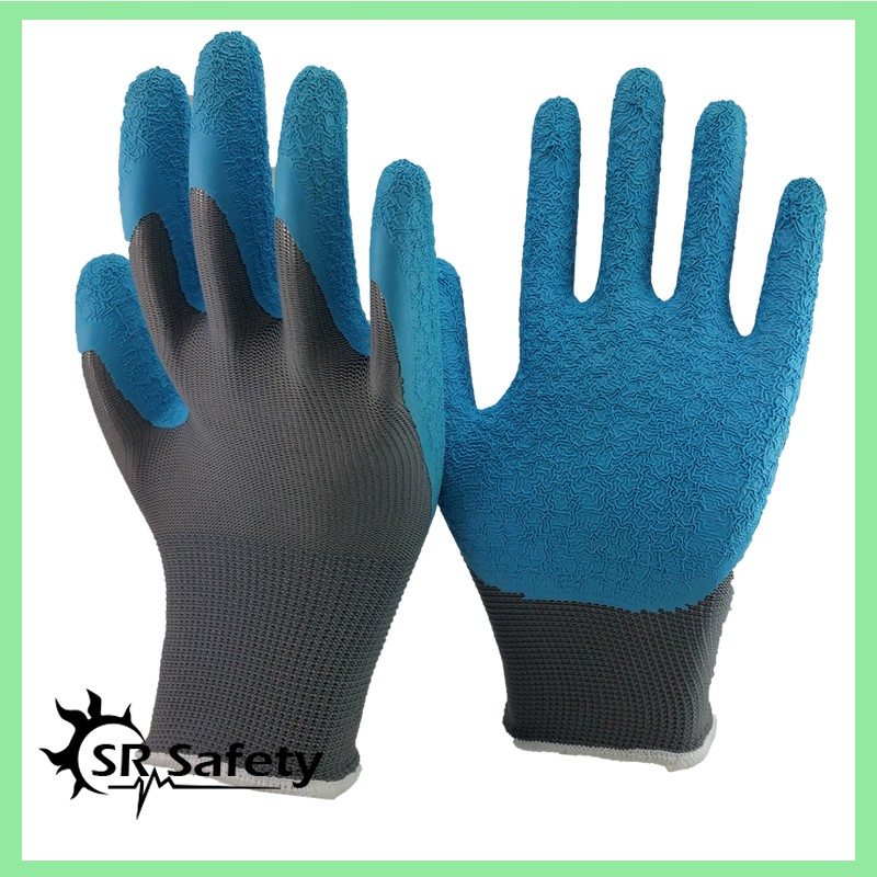 SRSAFETY 2 Pairs Knit Glove With Textured Latex Coating Gripping Gloves Grey/Blue