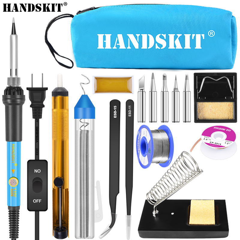 Handskit 60W 110V 220V Adjustable Temperature Soldering Iron Kit With ON/Off 5 Tips Desoldering Pump Wick Soldering Holder Iron