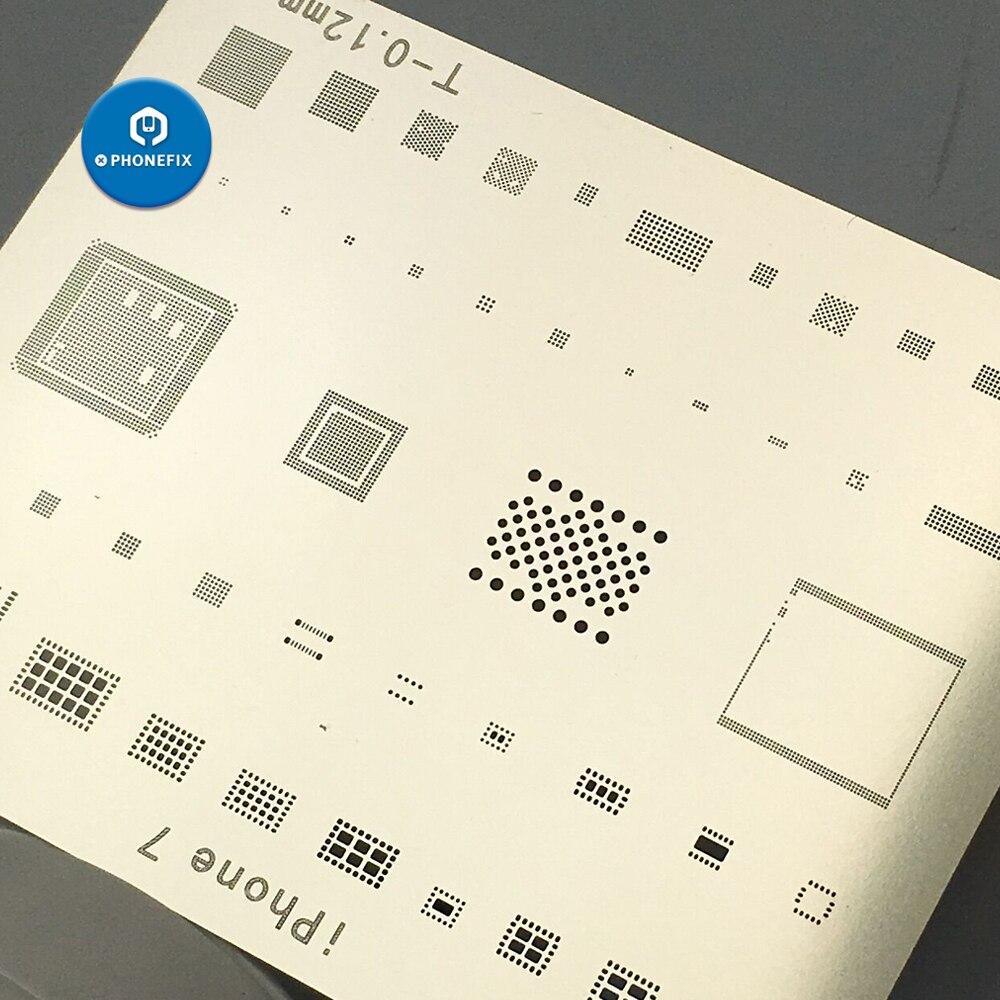 PHONEFIX BGA Reballing Stencils For IPhone 5S 6 6p 6S 6SP 7 7P 8 X Plant Tin Plate IC NAND Reballing Stencil Kit Steel Mesh
