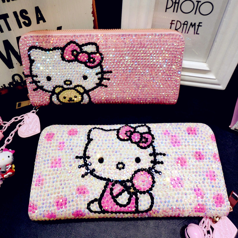 Hello Kitty diamant mignon portefeuille enfants dessin animé KT chat personnalité Kitty chat argent dossier belle brillant femmes en cuir sac à main
