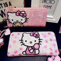 Hello Kitty Diamond Cute Wallet Children Cartoon KT Cat Personality Kitty Cat Money Folder Lovely Bright Women Leather Handbag