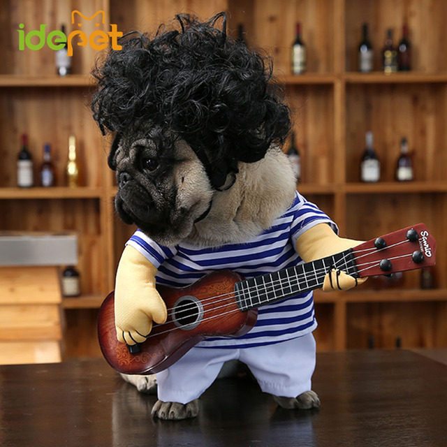 funny dog costumes guitar player pet clothes puppy outfit halloween dog clothes for small dogs french
