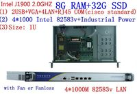 Celeron J1900 Quad Core 1U Firewall Router factory price pc J1900 firewall pc 4 lan computer 1u server with 8G RAM 32G SSD