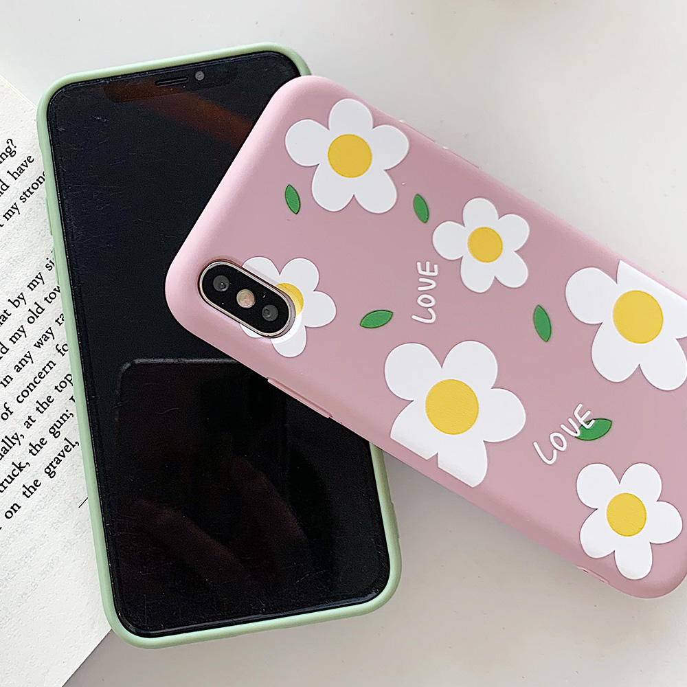 KIPX1113_3_JONSNOW Matte Phone Case for iPhone 6S 6P 7 8 Plus Small Daisy Pattern Soft Silicone Cases for iPhone X XR XS Max Capa Fundas