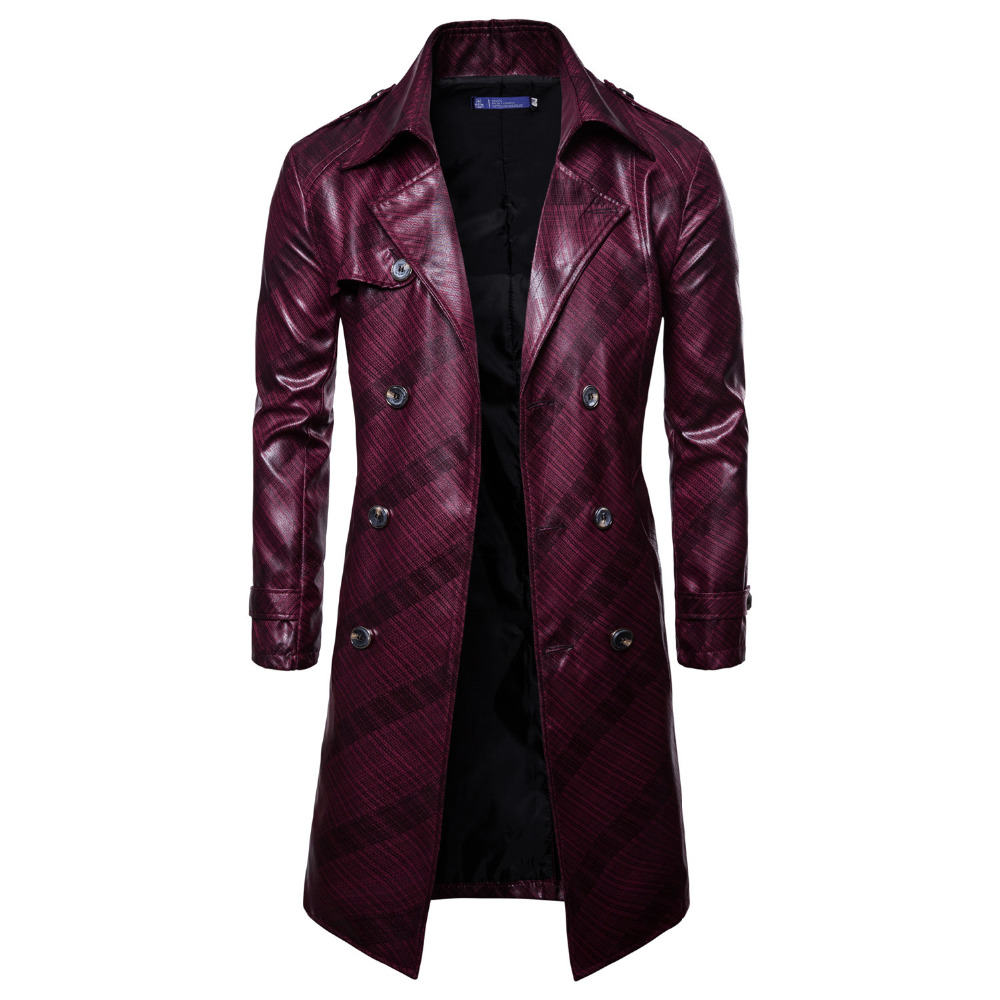 Men   Trench   Coat Homme 2019 New Fashion Mens Long PU leather   Trench   Coat Autumn Long Jacket For Men Slim Fit Winter Coat Mens
