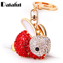 Dalaful Lovely Rabbit Full Crystal Keychains Keyrings Key Chains Purse Bag Pendant For Car Women llaveros Lindo Chaveiro K251