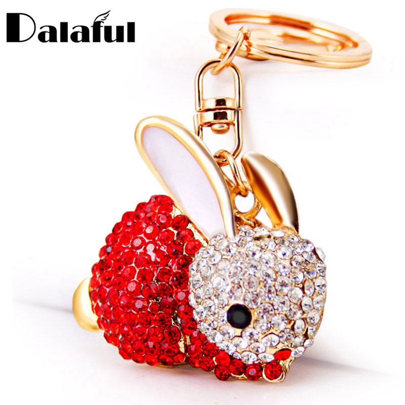 Dalaful Lovely Rabbit Full Crystal Keychains Keyrings Key Chains Purse Bag Pendant For Car Women Llaveros Lindo Chaveiro K251
